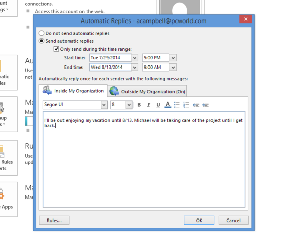 How to use Outlook's auto reply features to free your vacation from email