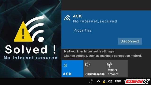 """Khắc phục lỗi hiển thị thông báo """"No Internet, Secured"""" gây khó chịu trên Windows 10"""