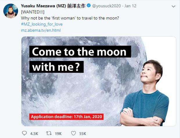 Tỷ phú Nhật thông báo tuyển người cùng du hành Mặt Trăng, 20000 cô gái trẻ đẹp độc thân lập tức ứng tuyển xin làm…vợ